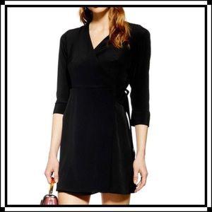 Top Shop| ¾ Sleeve Faux Wrap Dress | 6